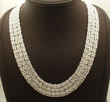 "18"" Waterfall Three Row Byzantine Link Chain Necklace Real Sterling Silver 925"