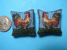 Dollhouse Miniatures A Pair of Red Chickens Toss Pillows