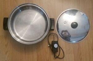 "Saladmaster 7256 Electric Skillet 12"" Liquid Core Stainless Steel Fry Pan Vapo"