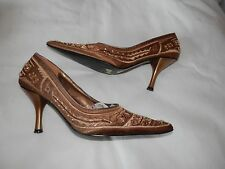 SANDRA FERRI Gold Fashion Wedding Party Satin and Bead Shoes Size 38 UK 5