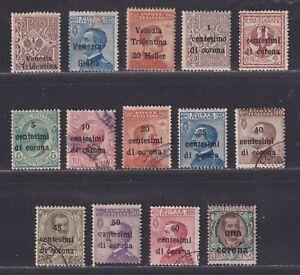 Austria Italian Occupation Scott N25//N73 1918-1919 WWI 14 Different Stamps