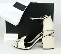 NEW ALEXANDER WANG Abby Trimmed Ankle-strap Leather Sandal, Ivory Bone, 38M