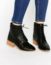 Womens Asos Black Leather Lace Up Oxford Boots Brogue Size 8 AMAR