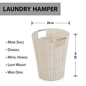 White Plastic Strong Round Waste Paper Basket Storage Bin For Home Office