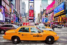 Quadro su pannello in legno MDF Taxi New York Misura 90x60 CM