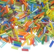 BUX1106p Assorted Color Transparent Rainbow 6mm Straight Bugle Seed Beads 16oz