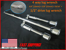 "4 Way folding lug wrench w 1/2"" DRIVE end More uses than tire iron! SAE & Metric"