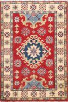 2x3 ft Hand-Made Super Kazak Geometric Oriental Area Rug Traditional Wool Carpet