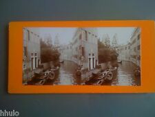 STC016 Canaux barque Brugges Venise ? stereoview photo STEREO