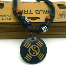 Adjustable Thick Hemp Cord Ying Yang Tai Chi Engraved Yak Bone Pendant Necklace