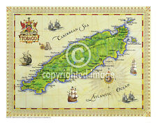 "19.5 x 25"" Tobago Vintage Look Map Poster Printed on Frenchtone Parchment Paper"