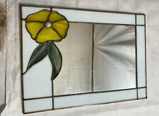 vintage stained glass mirror  yellow flower 11 X17 Inches Hanging Wire