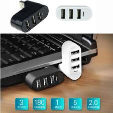 Mini 3 Port USB 2.0 Rotate Splitter Adapter Hub for PC Laptop Expansion DT4
