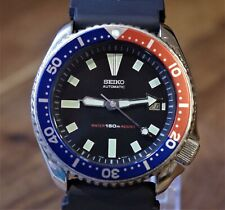 SEIKO 150M DIVERS AUTOMATIC MENS WATCH 7002-7000, BLACK/PEPSI
