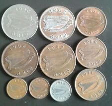 Old IRELAND Coin Lot - 1942 - Pre Euro - 10 Very Scarce Excellent Coins
