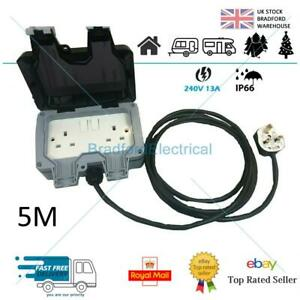 Outdoor IP66 Garden Extension Lead Socket Box IP66 Rated 1m to 25m Black Cable