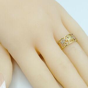 Tri Tone Gold Plated Good Luck Owl Elephant Eye 7 Clover Buena Suerte Ring