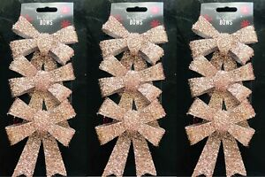 PACK OF 9 Sparkling Tinsel Rose Gold Bow Christmas Tree Baubles Decorations 12CM