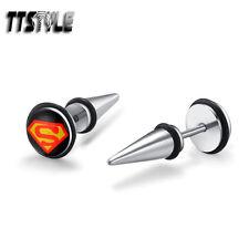 Surgical Steel Fake Spike Earrings Pair Ttstyle 8mm Black Superman Clear Epoxy