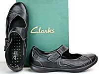 Clarks Womens Mary Jane size 9.5 M Black Leather Shoes WH33 FW338