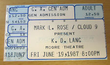 1987 K.D. LANG SEATTLE CONCERT TICKET STUB ANGEL WITH A LARIAT TOUR ALBERTA ROSE