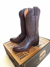 New Ralph Lauren RRL USA Plainview Cactus Brown Leather Cowboy Western Boots 7.5