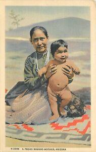 "A Proud Navaho Mother Arizona Fred Harvey Postcard 3.5"" x 5.5"""