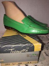 Trampeze Kelly Green Ladies Loafers 8B Vintage Nos Nib Retro