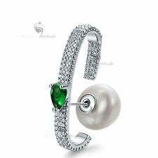18k white gold gf green cz crystal stud pearl single ear jacket  silver