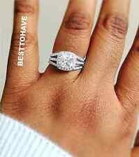 925 Silver Ladies 3 Pieces Wedding Engagement Cushion Cut Halo Bridal Ring Set K Sterling Silver