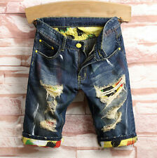 Fashion Mens Cargo Denim Shorts Distressed Ripped Jeans Casual Denim Pants Short