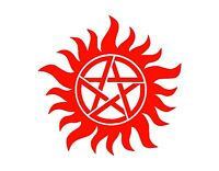 "ANTI POSSESSION SYMBOL Vinyl Decal Sticker RED 4"" SUPERNATURAL JDM MANY COLORS"