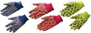 G & F 1823-3 JustForKids Soft Jersey Kids Garden Gloves, 3 Pairs Green/Red/Blue