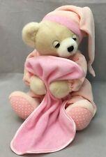 "Tan Teddy Bear Pink Night Hat PJ's Blanket Musical Aurora Baby Plush 12"" Lovey"