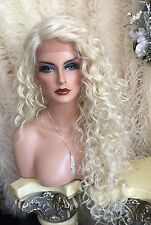 "ANGELIC 30"" Curly LONG Platinum Blonde Lace Front HUMAN HAIR BLEND Wig!"