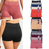 6Pk Seamless Boyshorts High Waist Womens Underwear Panties Boxer Briefs One Size