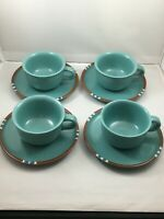 Dansk MESA TURQUOISE 4 Tea Cups & 4 Saucers Japan