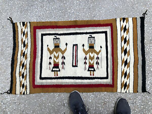 "Vintage CROWN POINT Navajo Handwoven RUG 42""X24"" Weaving LorraineChavez"