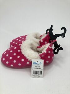 Toddler Girls Slippers (size L 9-10) Pink with White Polka Dot Soft Faux Fur