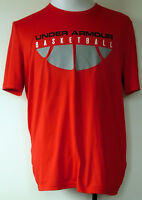 Under Armour Basketball HeatGear Red S/S Loose Fit Polyester T-Shirt L