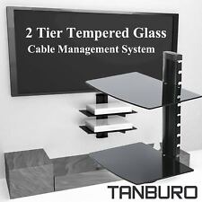 2 Tier For Sky Box DVD XBOX One PS4 AV Wall Mount Glass Floating Shelf Bracket