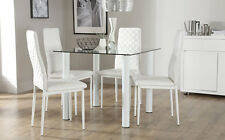 Nova & Renzo Square Glass & Chrome Dining Table And 4 Chairs Set (White Legs)