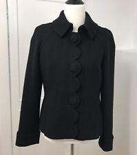 Boden Women's Black Jacket Coat Wool Blend Lined Scalloped  Sz 8 Regular