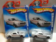 2009 Hot Wheels #85 White '65 Mustang Fastback w/ & w/o Chrome OH5 Rear Wheels