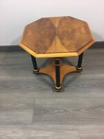 Vintage Baker Furniture Burl Octagon End/Side Table