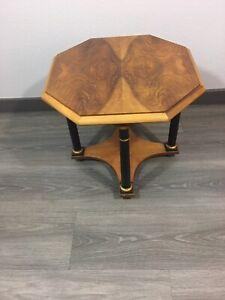 Vintage Baker Furniture Burl Octagon End/Side Table