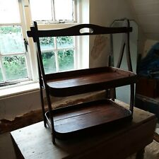 More details for vtg rustic wooden cake/ bread display stand tray 2 tier ideal for cafe shop