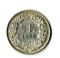 Moneda Suiza 1953 B 1/2 medio franco suizos plata .835 silver coin Helvetia