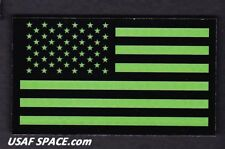 AUTHENTIC US MILITARY IR INFRARED REFLECTIVE FWD GREEN US FLAG HOOK & LOOP PATCH