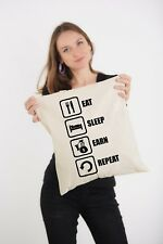 Eat Sleep Earn Repeat Moneybag Styled Natural Printed Shoulder Tote Bag
